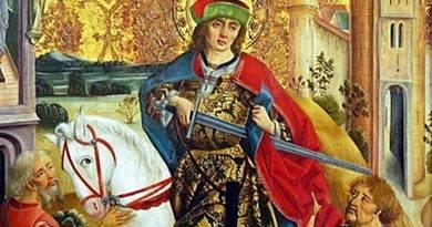 São Martinho de Tours corta a capa com a espada e dá metade ao pobre!