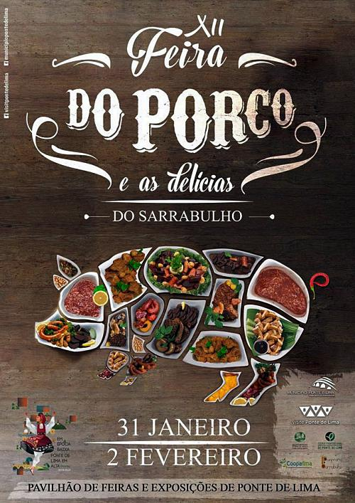 Cartaz de divulgação da Feira do Porco e das delícias de Sarrabulho - Ponte de Lima
