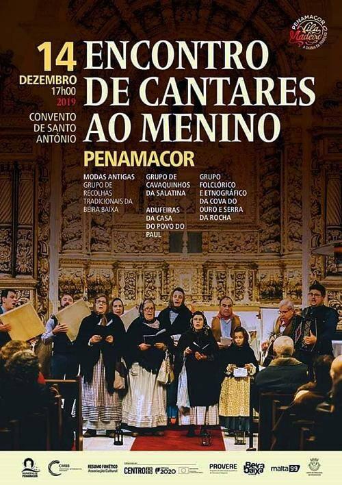 Cartaz de divulgação do Encontro de Cantares ao Menino em Penamacor - 14 de Dezembro de 2019