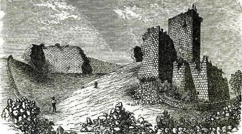 Guerra do Mirandum - Ruínas do castelo de Miranda do Douro - Desenho de Nogueira da Silva, segundo um esboço de Freire Pimentel